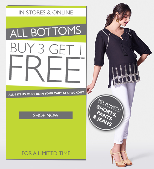 Bottoms: Buy 3 Get 1 Free