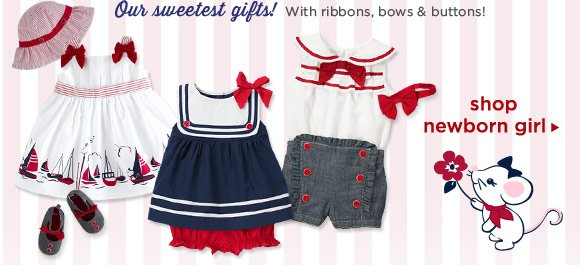 Our sweetest gifts! With ribbons, bows & buttons! Shop Newborn Girl
