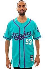 The Ninja Script Baseball Jersey in Teal