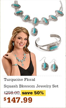 Turquoise Floral Squash Blossom Jewelry Set