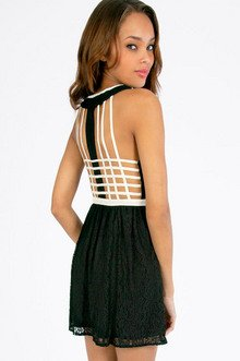 LACE CAGE BACK SKATER DRESS 35
