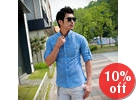 Tab-Sleeve Linen Blend Shirt