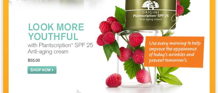 GET YOUNG IN THE SUN with Plantscription SPF 25 Anti aging cream 55 dollars SHOP NOW