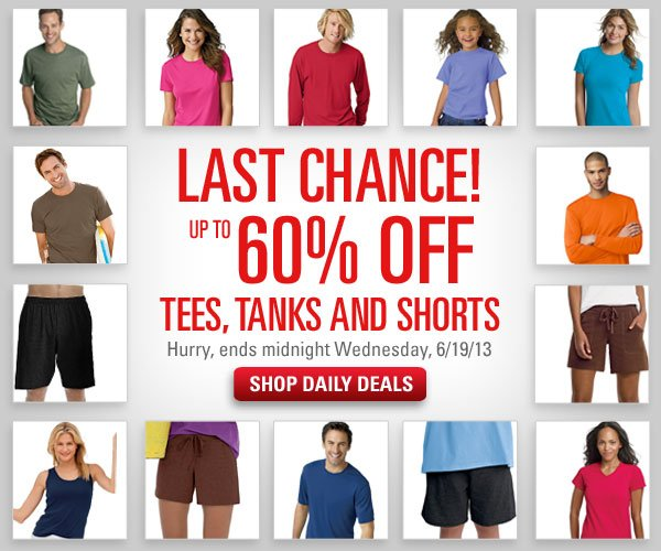 Shop Daily Deals: 60% off Tees, Tanks and Shorts
