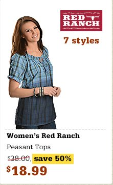 Red Ranch Peasant Tops