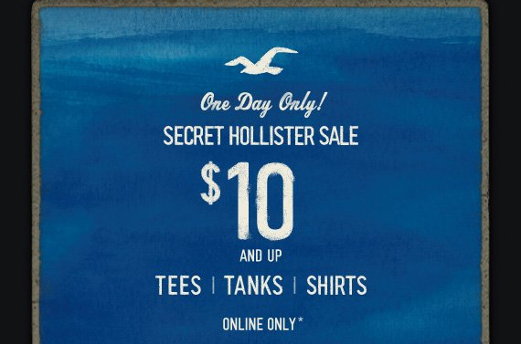 One Day Only! SECRET HOLLISTER  SALE $10 AND UP TEES TANKS SHIRTS ONLINE ONLY*