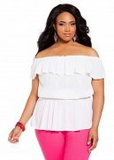 Off-the-shoulder Ruffle Peasant Top