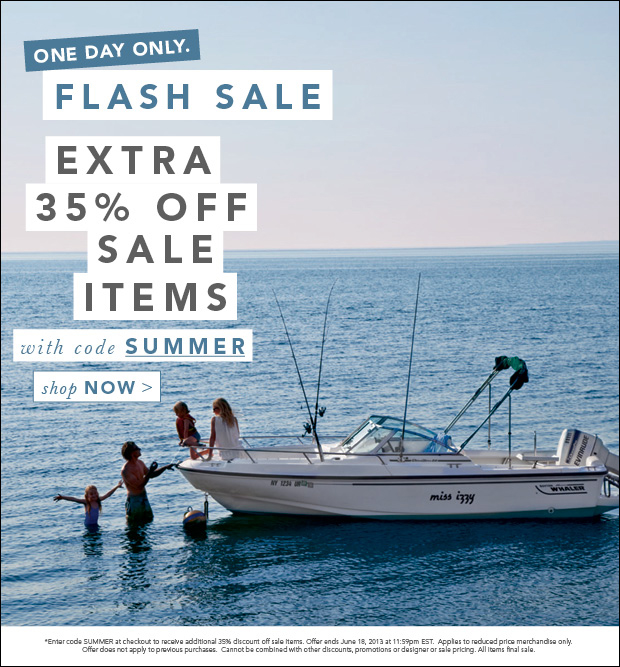 One Day Only. Flash Sale. Extra 35% Off Sale Items with code SUMMER