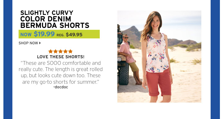 Slightly Curvy Color Denim Bermuda Shorts