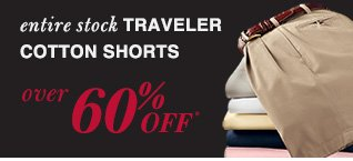 Over 60% Off* Traveler Cotton Shorts