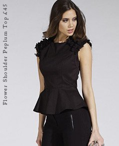 Flower Shoulder Peplum Top