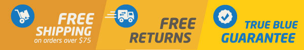 free shipping, free returns, and a True Blue guarantee
