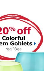 20% off Colorful Stem Goblets