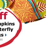 20% off Global Print Napkins & Beaded Butterfly Napkin Rings