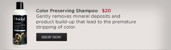 Color Preserving Shampoo $20 Gently removes mineral deposits and product build-up that lead to the premature stripping of color.