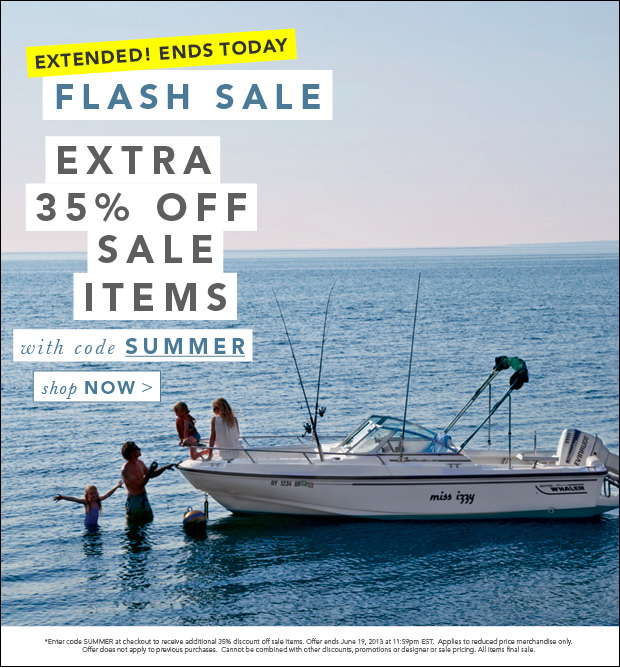 Extended! Ends Today. Flash Sale. Extra 35% Off Sale Items with code SUMMER
