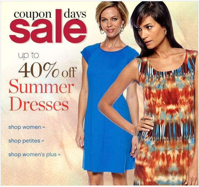 Coupon Days Sale. Summer Dresses for Every Occasion. 40% off.