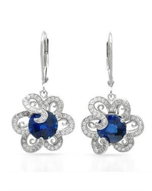 Ladies Sapphire Earrings Made Of 925 Sterling Silver