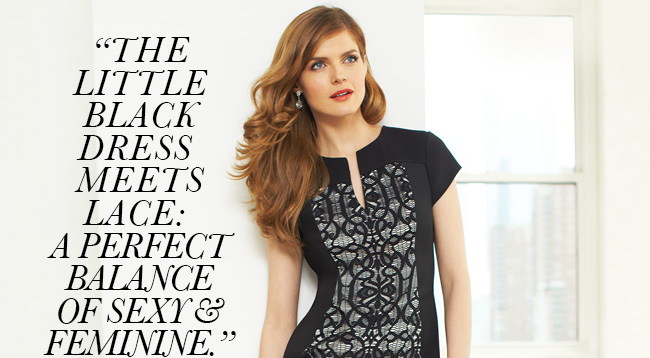 The little black dress meets lace: A perfect balance of sexy & feminine. -Cate Sheehy, Style Director.