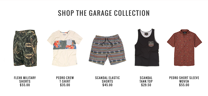 In 1973 Billabong founder Gordon Merchant began to manufacture boardshorts in his shed overlooking the famous Burleigh Point. Today's Garage Collection is a reincarnation of Gordan's legacy, it is the modern original. Authentic garments tailored with a hand made look and feel.