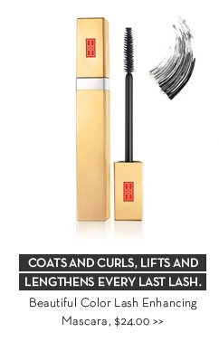 COATS AND CURLS, LIFTS AND LENGTHENS EVERY LAST LASH. Beautiful Color Lash Enhancing Mascara, $24.00.