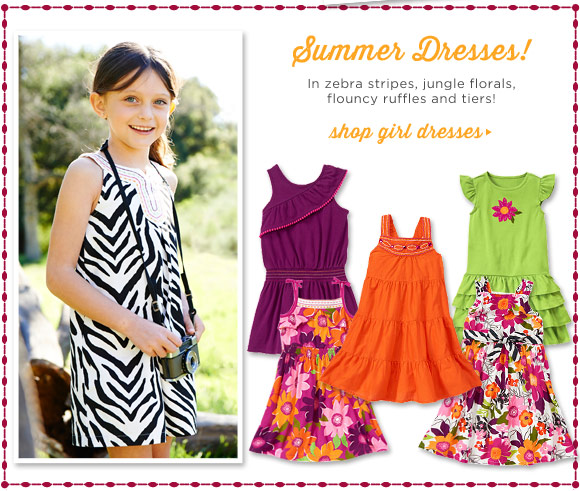 Summer Dresses! In zebra stripes, jungle florals, flouncy ruffles and tiers! Shop Girl Dresses.