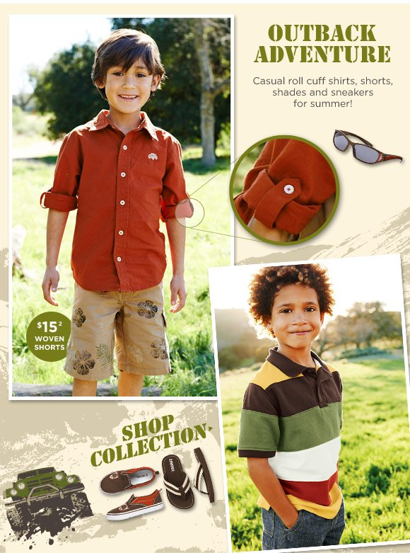 Outback Adventure. Casual roll cuff shirts, shorts, shades and sneakers for summer! $15 Woven Shorts(2). Shop Collection.