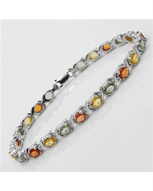 Ladies Sapphire Bracelet Made Of 925 Yellow Sterling Silver