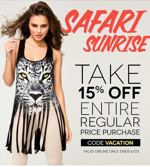 HURRY, ends Sunday June 23! Take 15% off New Arrivals!