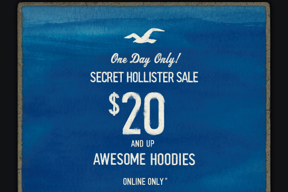 One Day Only! SECRET HOLLISTER SALE $20 AND UP AWESOME HOODIES ONLINE ONLY*