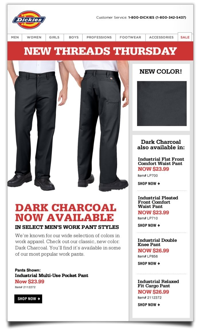 New Threads Thursday: Dark Charcoal now available in select Men's Work Pant styles.