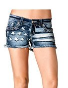 Miss Me Women's Faded Flag Front Cut Off Shorts