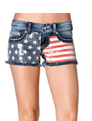 Miss Me Women's Sequins Flag Front Cut Off Shorts