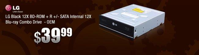 LG Black 12X BD-ROM + R +/- SATA Internal 12X Blu-ray Combo Drive - OEM