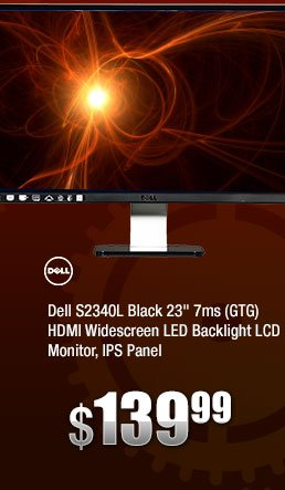 """Dell S2340L Black 23"""" 7ms (GTG) HDMI Widescreen LED Backlight LCD Monitor, IPS Panel"""
