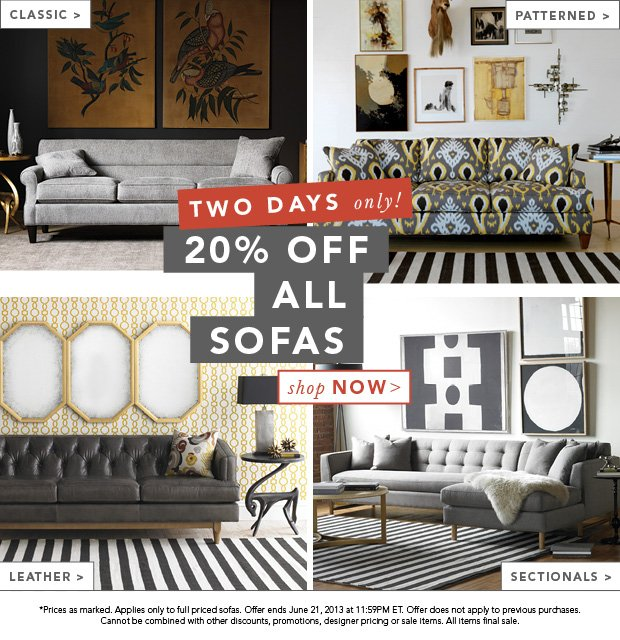 2 Days Only! 20% Off All Sofas