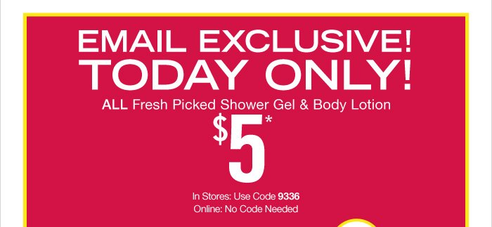 All Fresh Picked Body Shower Gel & Body Lotion $5