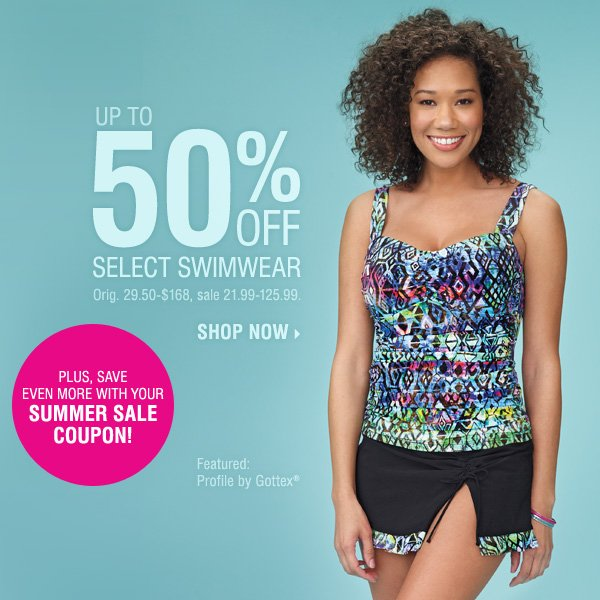 UP TO 50% OFF select swimwear. Plus, save even more with your SUMMER SALE coupon! Shop now.