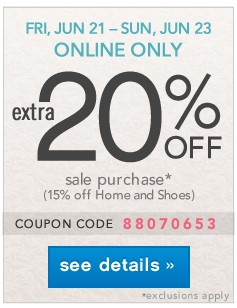 Extra 20% off. Online Only JUN 21 - JUN 23. See details.