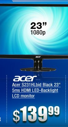Acer S231HLbid Black 23 inch 5ms HDMI LED-Backlight LCD monitor