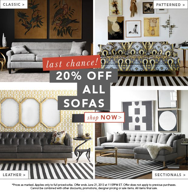 Last Chance! 20% Off All Sofas