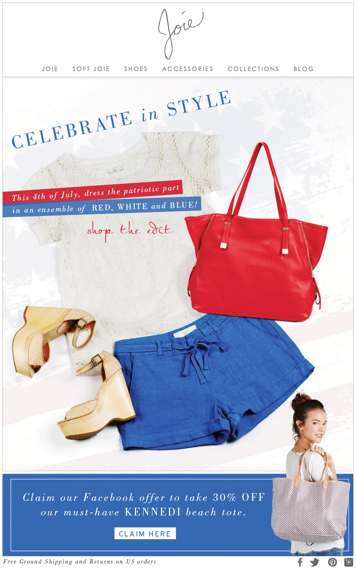 CELEBRATE in STYLE this 4th of July, dress the patriotic part in an ensemble of RED, WHITE and BLUE! shop the edit