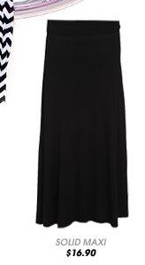 Solid Foldover Maxi Skirt