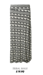 Tribal Horizontal Stripe Maxi Skirt