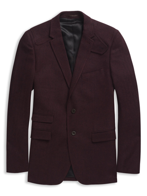 Tweed Herringbone Wool Blend Single Breasted Two Button Blazer