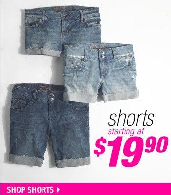 shorts starting at  $19.90