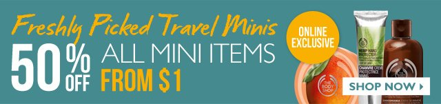 Freshly Picked Travel Minis -- ONLINE EXCLUSIVE -- 50% OFF ALL MINI ITEMS -- FROM $1 -- SHOP NOW