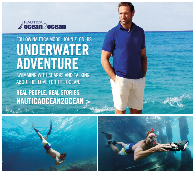 Follow Nautica model John Z. on his underwater adventure. NAUTICAOCEAN2OCEAN.