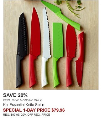 SAVE 20% - EXCLUSIVE & ONLINE ONLY - Kai Essential Knife Set - SPECIAL 1-DAY PRICE $79.96 (REG. $99.95, 20% OFF REG. PRICE)