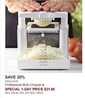 SAVE 20% - EXCLUSIVE - Professional Multi-Chopper - SPECIAL 1-DAY PRICE $31.96 (REG. $39.95, 20% OFF REG. PRICE)